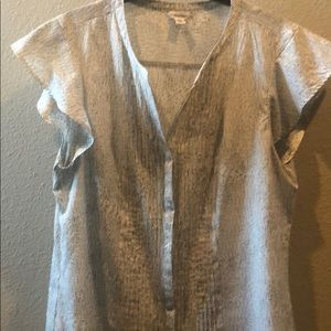 Calvin Klein button up blouse with ruffle sleeves